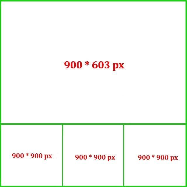 Kích thước ảnh quảng cáo Facebook 1 hình ngang và 3 hình dưới