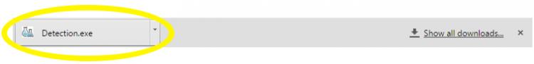 """Chọn """"Detection.exe"""" trong thanh menu để ứng dụng bắt đầu phát hiện"""