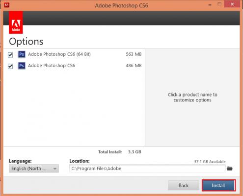Chọn phiên bản Photoshop Adobe CS6 theo HDH máy tính