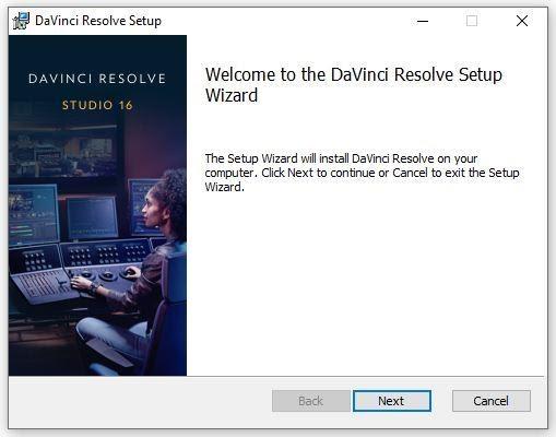 Chọn tệp ResolveInstaller.msi để chạy File Setup. Sau đó nhấn Next để tiếp tục