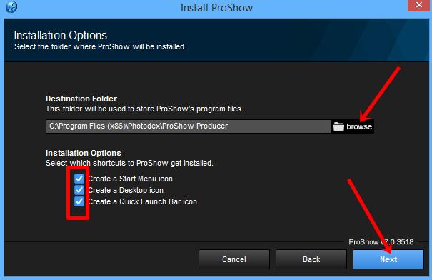 Chọn thư mục cài đặt Proshowproducer