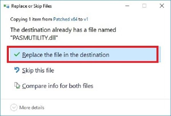Click chọn Replace the file in the destination
