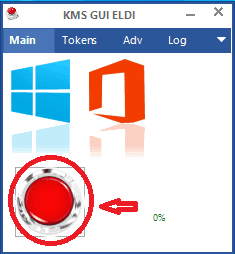 Click vào nút màu đỏ để tiếp tục kích hoạt Windows