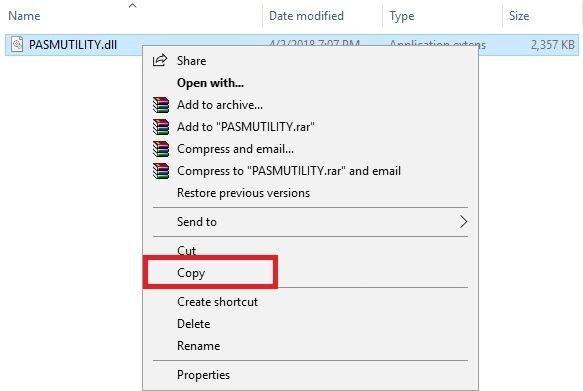Copy file PASMUTILITY.dll tại thư mục Patched x64