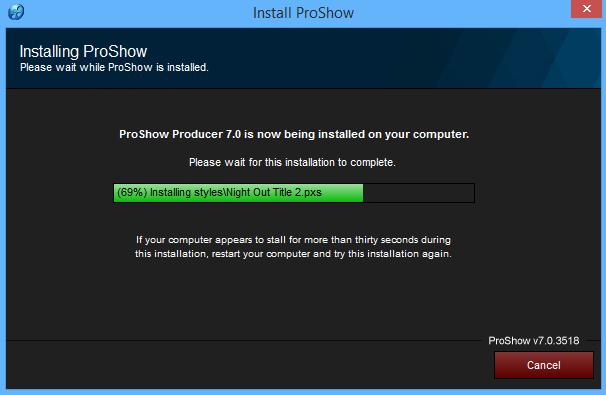 Đợi vài phút để cài đặt Proshow Producer 7