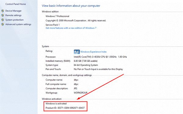 """Dòng chữ """"Windows is activated"""" chứng tỏ phần mềm đã được cài đặt thành công"""