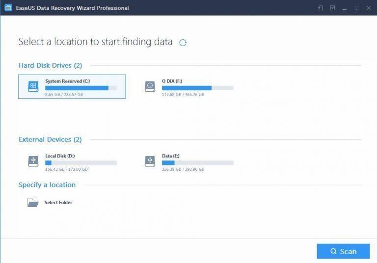 Easeus Data Recovery Wizard Full Crack giúp phục hồi dữ liệu do mất phân vùng