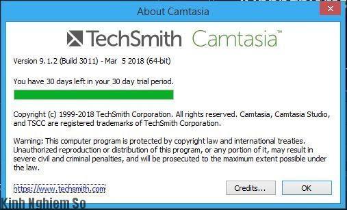 Giao diện chuẩn Camtasia Studio 9.1 2.3011 Full