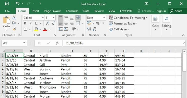 Kết quả, File PDF đã được chuyển đổi thành Excel
