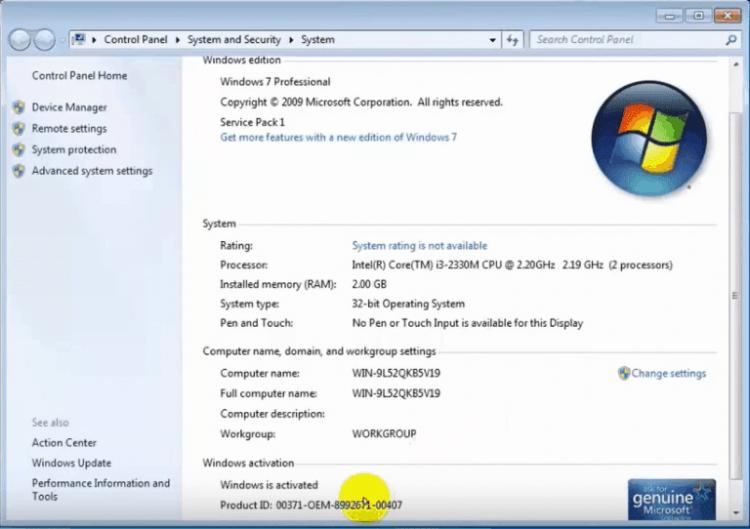 Kiểm tra trạng thái bản quyền của Windows sau khi Crack Win 7 Ultimate 64 bit