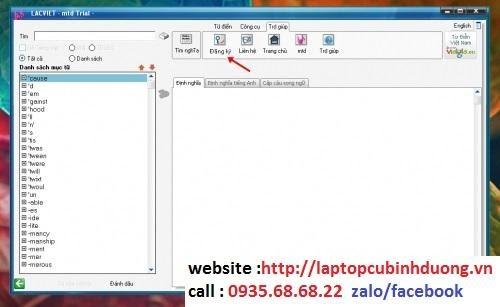 Mở phần mềm Lạc Việt, nhấn vào Đăng ký