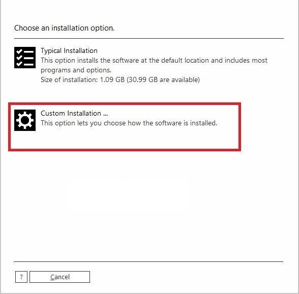 nhấn chọn Custom Installation