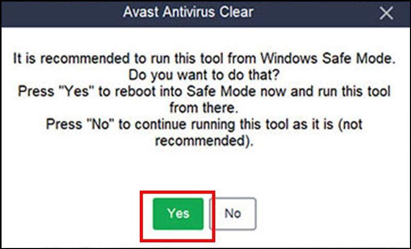 Nhấn chọn Yes đưa máy tính vào chế độ Safe mode có thể tiến hành xóa phần mềm