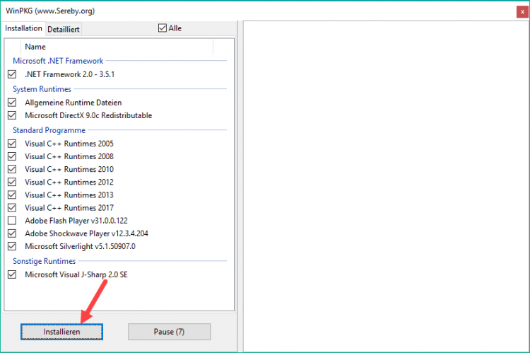 Nhấn Installieren để cài đặt các gói ứng dụng còn thiếu trên máy tính