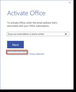 Nhấn vào Nhấn Enter a product key