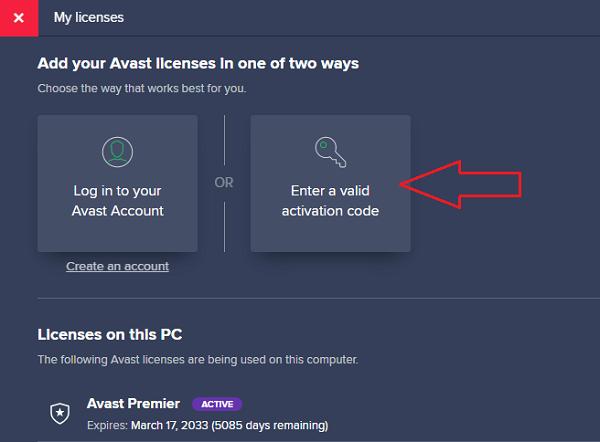 """Nhấp chuột vào """"Insert activation code""""để chèn mã kích hoạt"""