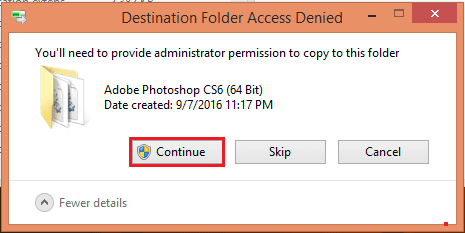 "Chọn ""Replace the file in the destination"", sau đó click tiếp vào ""Continue"""