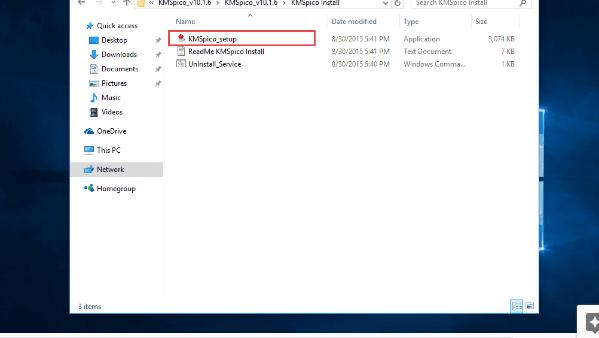 Tìm File KMSpico_setup để khởi động