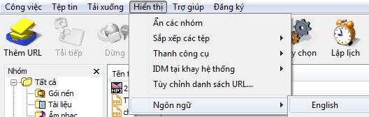 Vào cửa sổ IDM mục hiển thị để chọn ngôn ngữ