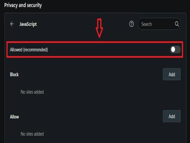 Kéo thanh trượt ở mục Javascript sang phía bên trái để mở khóa thành công