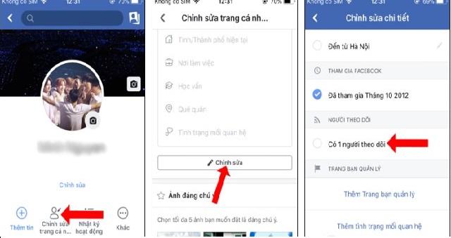 cach lam hien thi so luot theo doi tren facebook bang dien thoai IOS