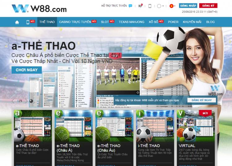 Nhà cái W88 cung cấp đa dạng loại hình cá cược như: Casino trực tuyến, cá cược thể thao, cá độ bóng đá…