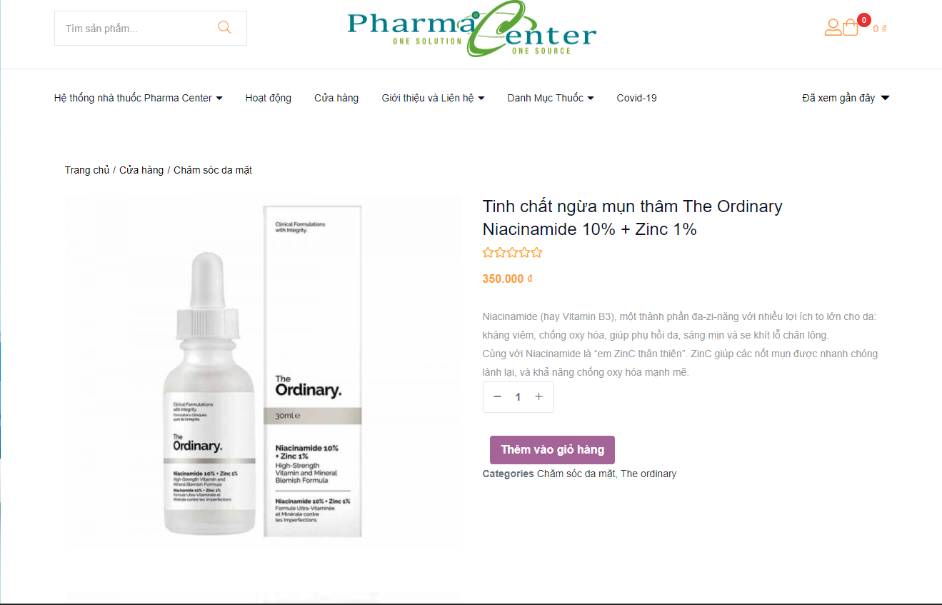 Mua the ordinary tại pharmacenter